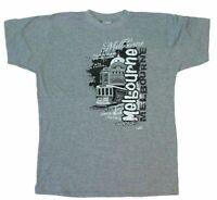 Adult T Shirt Australia Day Souvenir 100% Cotton - Melbourne Trams Flinders St