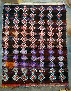 Vintage Moroccan berber boucherouite rug 198 x 153 cm