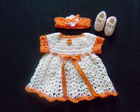 crocheted peach baby girl dress headband and mary janes handmade 3-6 months