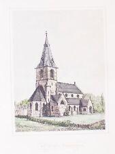 OLD ANTIQUE PRINT SHIREOAKS NOTTINGHAMSHIRE ST LUKES  CHURCH WORKSOP c1870's