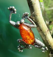 Pendant Frog Silver 925 Amber Tear of the Gods Stone D Zodiac Signs Bull