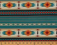 Southwestern Aztec Tucson Turquoise Stripes Cotton Fabric Print by Yard D466.32