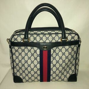 Vintage Gucci Accessory Collection Navy Blue Monogram Coated Satchel Tote Bag