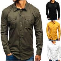 Herren-Arbeitshemd Lässiges Multi-Pocket-Langarm-T-Shirt einfarbiger Baumwolle