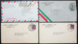 Mexico Postage Set Of 4 Covers Envelopes Adv Mexico Airmail Letters (H-10533