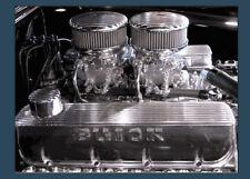 DUAL QUAD FINNED AIR CLEANERS PAIR 2X4 CARBURETOR CARB INTAKE RAT VTG HOT ROD V8