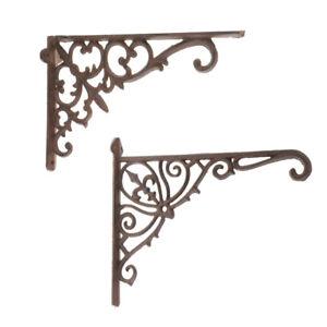 Cast Iron Antique Style Brackets Garden Decor Braces Rustic Shelf Bracket