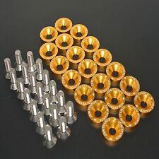 20PC M8 GOLD BILLET ALUMINUM FENDER/BUMPER WASHER/BOLT ENGINE BAY DRESS UP KIT