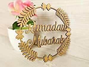 Eid Decorations Ramadan Mubarak Wooden Islam Mosque Muslim Party Plaque Family