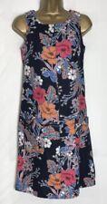 Next Navy Floral Linen Mix Sleeveless Pocket Tunic/Shift Dress 6 Petite (n-43h)