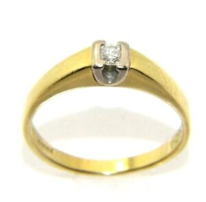 Ladies women's 18carat 18ct yellow gold diamond solitaire ring UK Size O