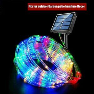 100 Led Solar Rope String Strip Lights 39ft Waterproof Garden Fence Lamp Outdoor