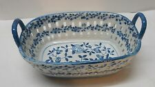 Basket Flower Designs with Cut Out Edges Blue and White Porcelain Vintage