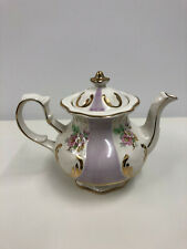 Antique Porcelain Tea Pot Purple Pansies Gold Gilt #3623 Price Kensington Tudor