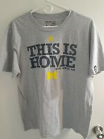"""Mens Adidas Gray UofM Michigan Wolverines T Shirt Large L EUC """"This is Home"""""""
