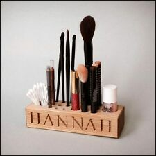 Beautiful Make Up  / Brush Stand Solid Oak Personalised with your own name