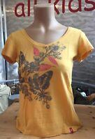 Esprit T-Shirt Gelb mit Schmetterlings Motiv gelb orange Gr XS 1A Zustand