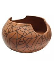 "Vintage Studio Art Pottery Bowl Signed P Savage 4"" Terra Cotta Brown Web Design"