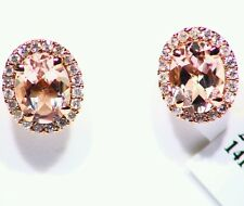 2.46CT 14K Rose Gold Natural Morganite White Diamond Engagement Vintage Earrings