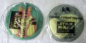 """Two STAR WARS: The Phantom Menace (1999) KFC """"flying bucket toppers"""" (frisbees)"""