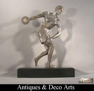 Reddij Silver-plated Bronze Art Deco Sculpture Discus Thrower on Marble
