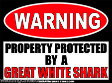 Great White Shark Funny Warning Sign Bumper Sticker Decal DZ WS337