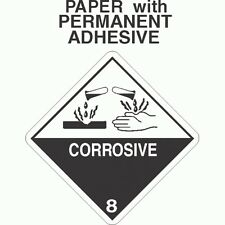 Corrosive Class 8 Paper Labels D.O.T. 4X4 (ROLL OF 500)