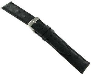 20mm Morellato Genuine Leather Ostrich Grain Black Replacement Watch Band Strap