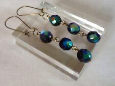 Vidrio de carnaval con cuentas colgantes pendientes de perlas negras Pavo Real Arco Iris Vintage 50s