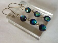 Carnival Glass Beaded Dangle Earrings Black Peacock Rainbow Vintage 50s Beads