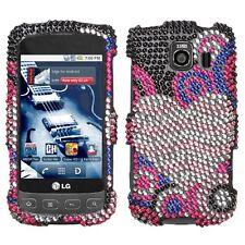 For LG Optimus V Optimus U Optimus S Crystal Bling HARD Case Cover Bubble Hearts