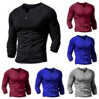 Men's Slim Fit Button V Neck Long Sleeve Muscle Tee T-shirt Casual Tops Blouse