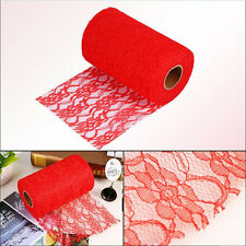"1Roll 6"" Vintage Floral Lace Wedding Chair Table Runner Sash Ties Party Decor"