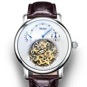 Luxury Hollow Watch Men Tourbillon Mechanical Self Wind Power Reserve Sapphire