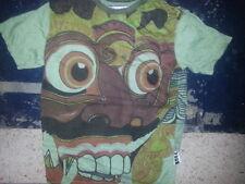 Men T Shirt SHORT SLEEVE green COTTON GRAPHIC HINDU OM Demon Bali devil M WEED