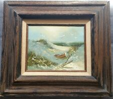 VINTAGE CANVAS OIL PAINTING, WOODEN ROW BOAT ON SHORE 3D WOODEN FRAMED & SIGNED