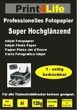 50 Blatt Fotopapier Print4Life DIN A4 120 g glänzend glossy weiß Tintendrucker