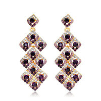 New 100% High Quality Hot Sale Purple Crystal Earrings Wonderful Gift For Women