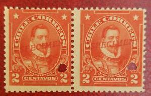 A) 1905, CHILE, VALDIVIA, PUNCH PROOF UPPER RIGHT, SPECIMEN, 2C, ORANGE
