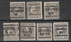 USA Scott #  514 Lot of 7 Different Precancel stamps ( 514-6)