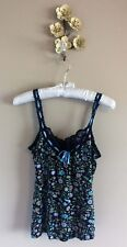 Free People Black Floral Cami Ribbon & Lace Sleeve Size Small