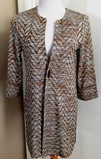 NWT Chico's Collection Sz 0 XS-S Brown Beige Chevron Long Jacket CLAMBAKE $99