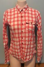 Hollister Womens M Button Front Long Sleeve Top Shirt Pink Plaid