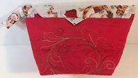 "Christmas Quilted Snap Bag Handmade Red 7""X9""X4"" Red Gift Tote"