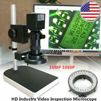 16MP 1080P HDMI Digital Industry Video Inspection Microscope w/Camera Stand Set