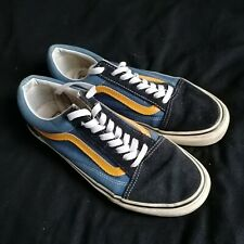 VANS Old Skool Skate Shoes Blue Yellow Classic Canvas Sneakers Mens US 8 UK 7