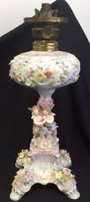OLD GERMAN PORCELAIN FLOWERS CUPIDS OIL LAMP