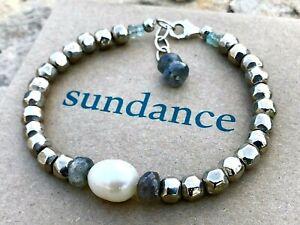 "NEW Sundance Labradorite Pearl 7-1/2 - 8"" Sterling Silver Plate Beaded Bracelet"