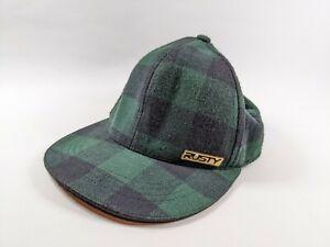 Rusty Baseball Style Hat Cap Green Black Tartan Pattern One Size S/M