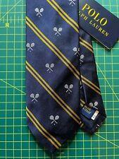 Polo Ralph Lauren Tennis Tie Wimbledon 100% Silk Handmade in Italy Genuine BNWT